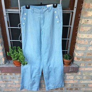 LOFT modern trouser cotton linen button pants blue